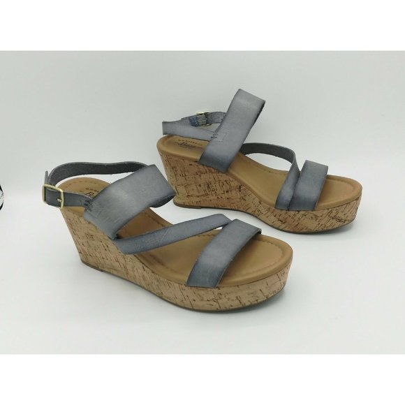 GH Bass & Co Grace Strappy Leather Wedge Sandals